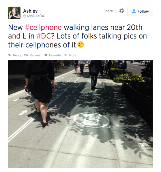 """What about a """"no cellphones"""" lane on sidewalks? 