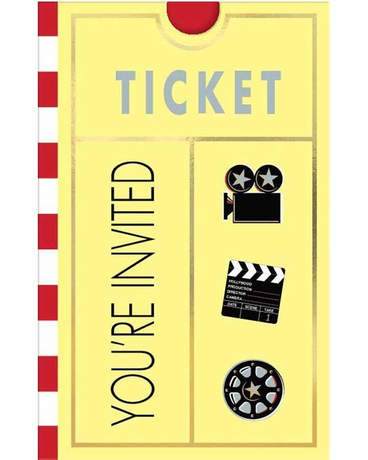 Hollywood Lights Camera Action Party Invites   Lights camera auction ...