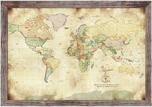Decorationvintage inspired map old world charm 24x36 inches decorationvintage inspired map old world charm 24x36 inches keepsake gift push pin travel framed gumiabroncs Gallery