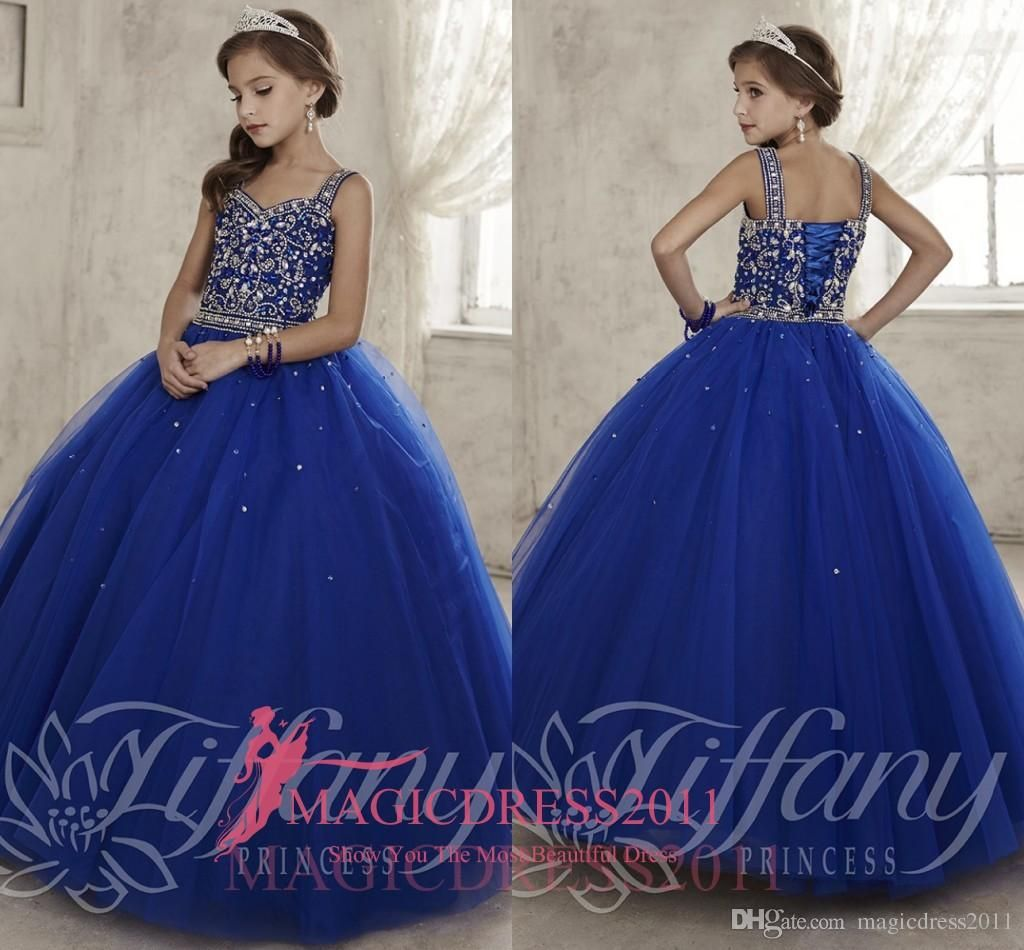 Cheap Girls Pageant Dresses For Teens Ball Gown Tulle Glitz Crystal