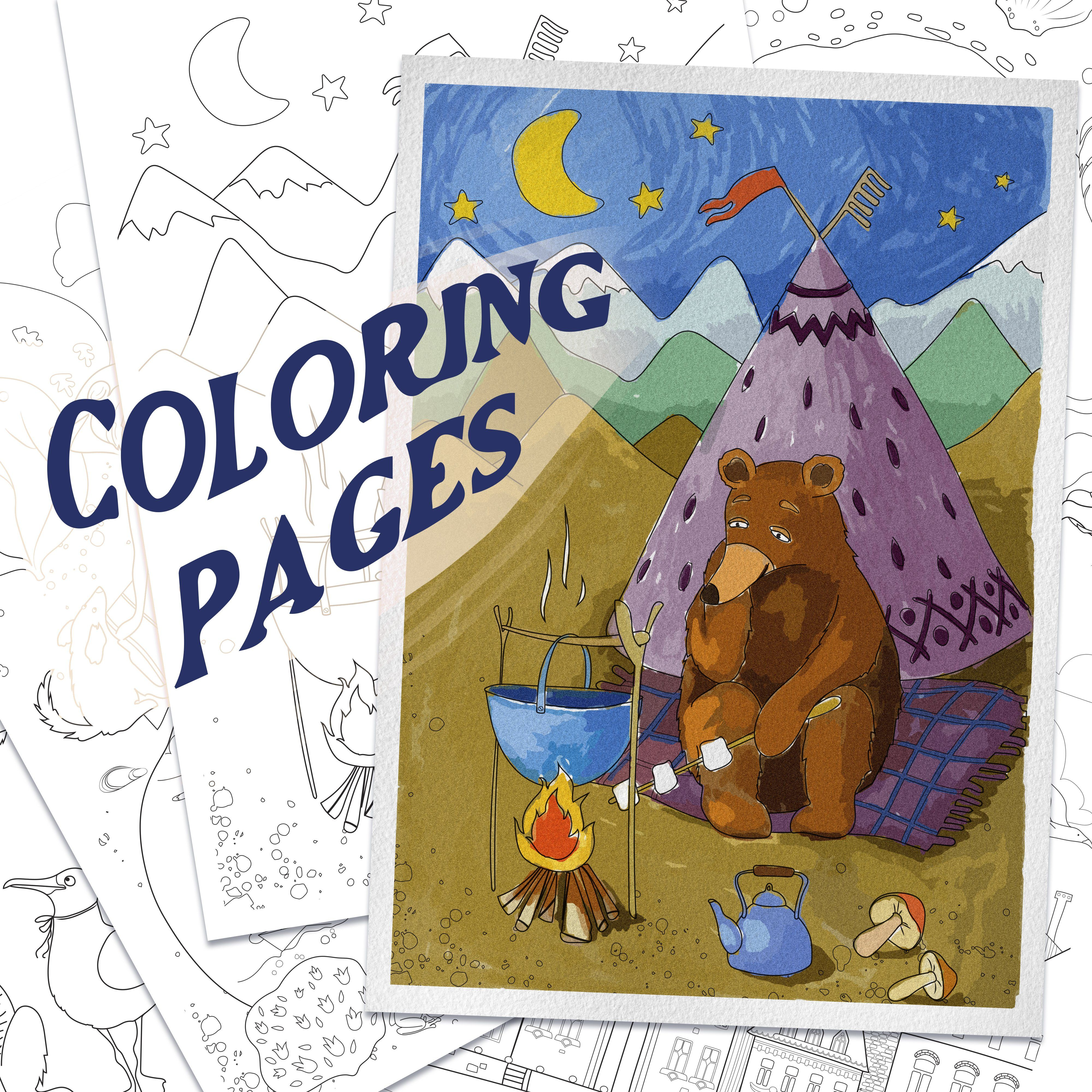 Coloring Pages With Funny Animals Journeys And Summer Stuff 673995 Coloring Pages Design Bundles In 2020 Coloring Pages Hand Lettering Cards Alphabet Illustration