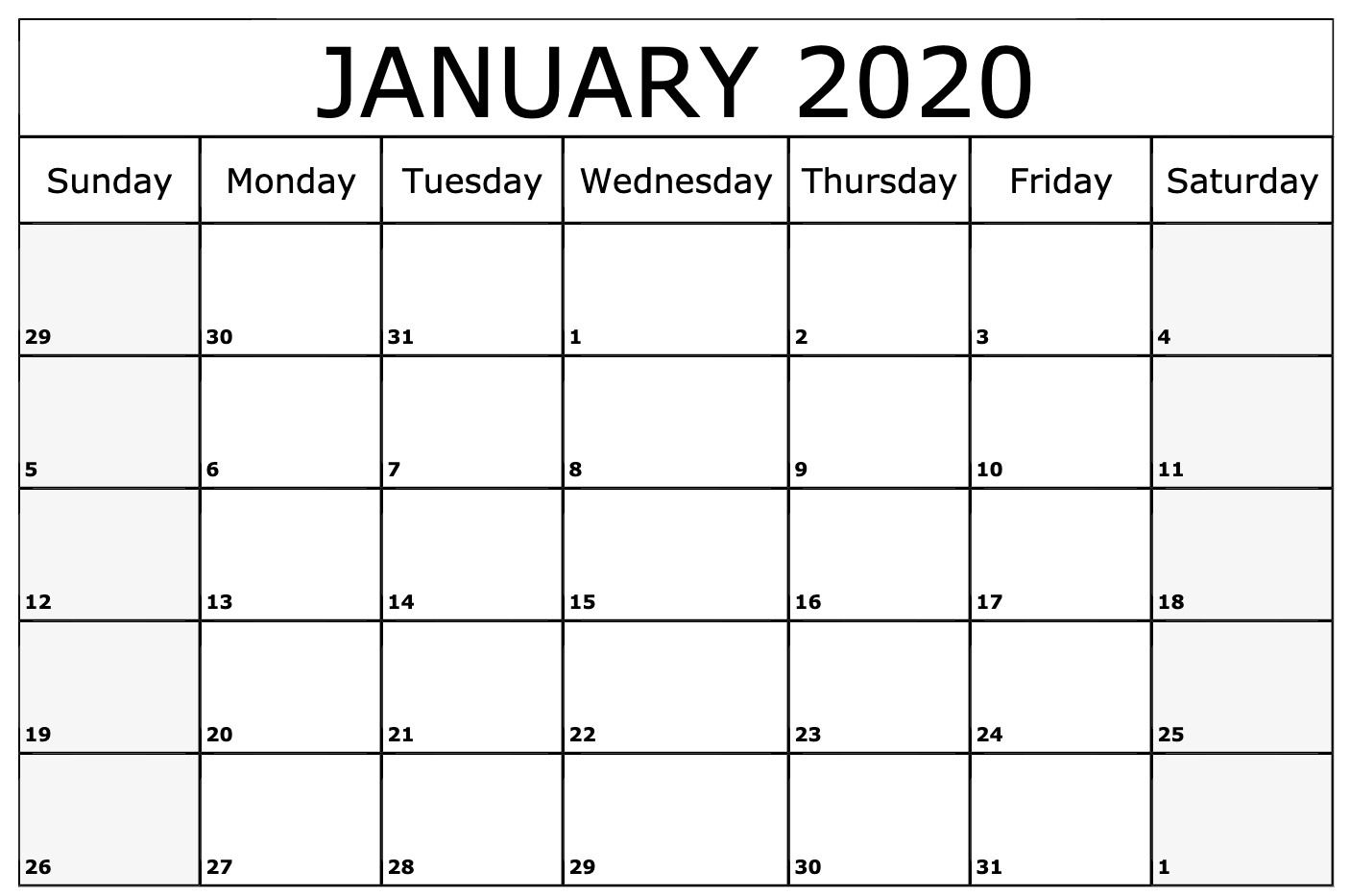 Free January 2020 Calendar Pdf Word Excel Printable Template