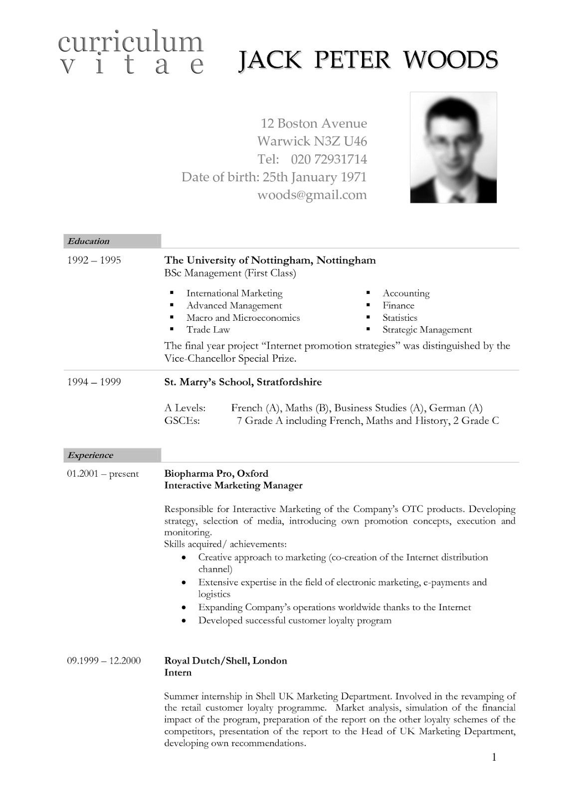 resume cv model usa