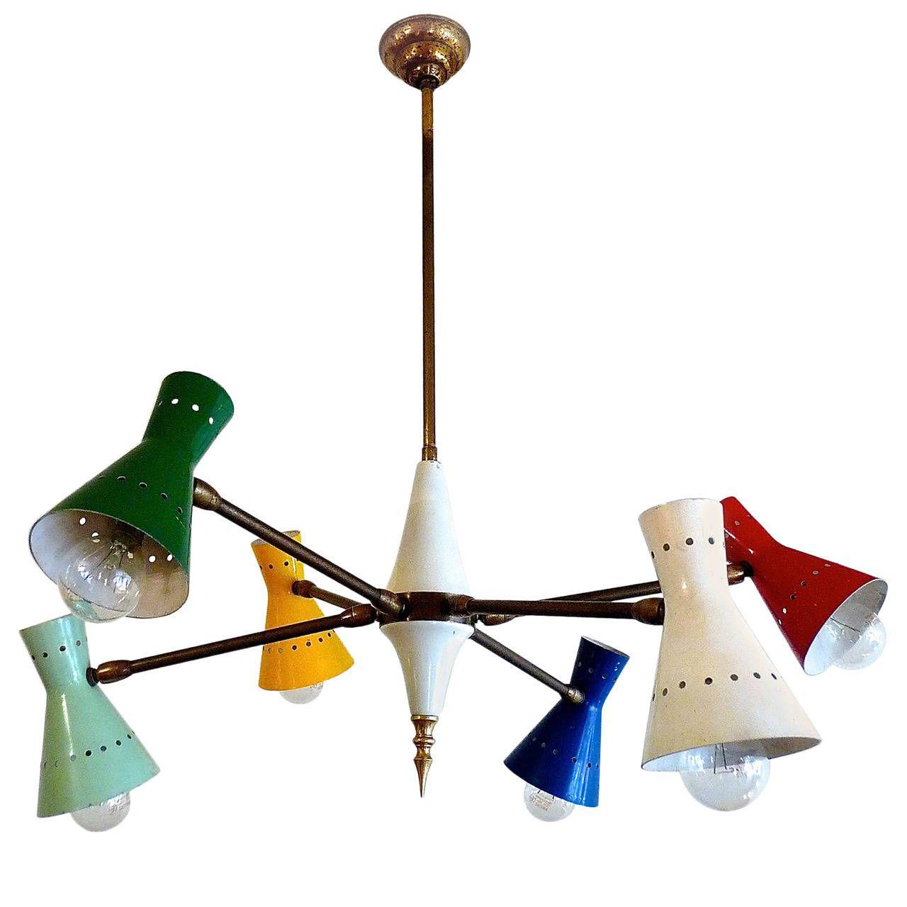 Arredoluce Chandelier With Six Articulated Arms Vintage Chandeliermodern Chandelierchandelierspendant Lightslight
