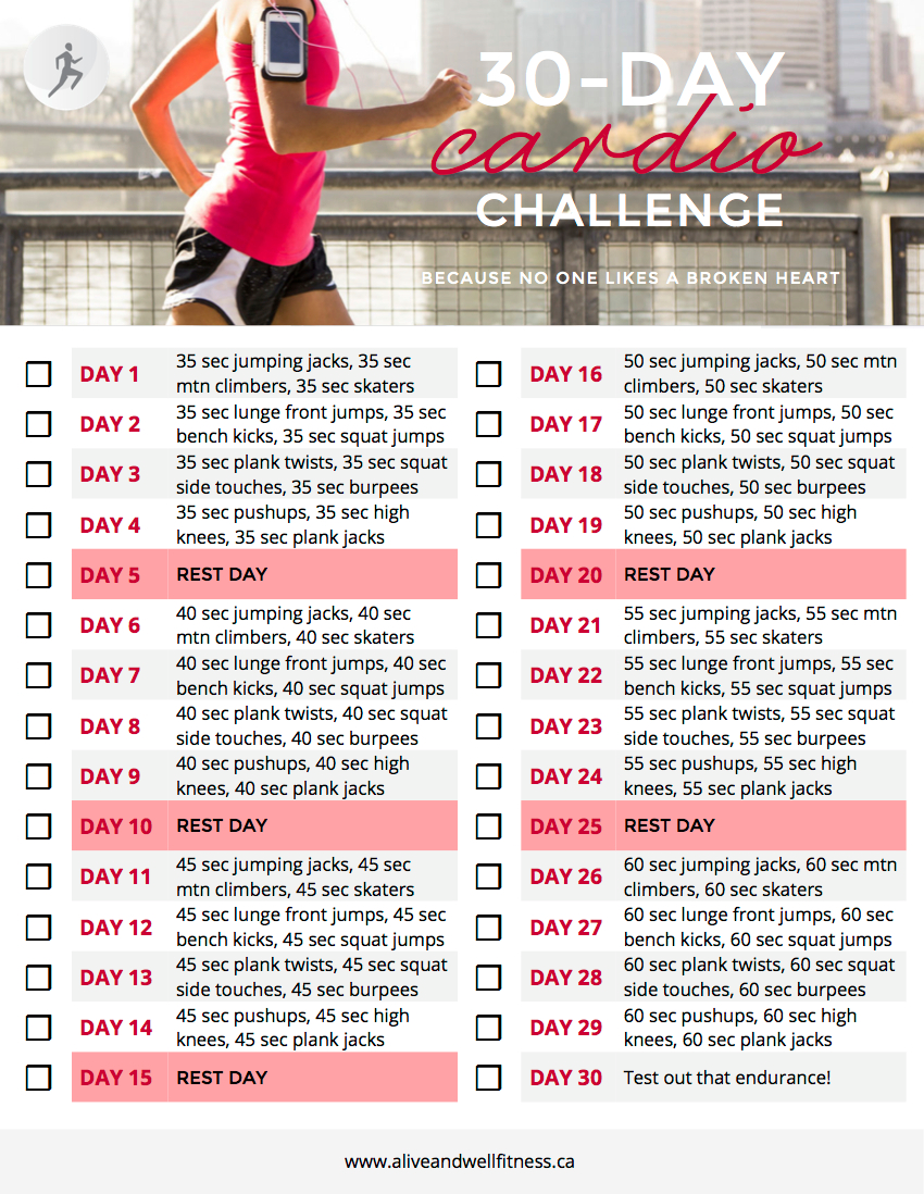30 Day Cardio Challenge   Alive & Well Personal Training