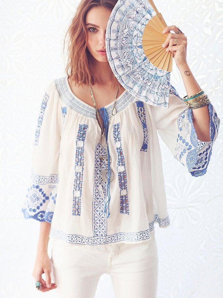 Free People Silver Springs Embroidered Top At Free People