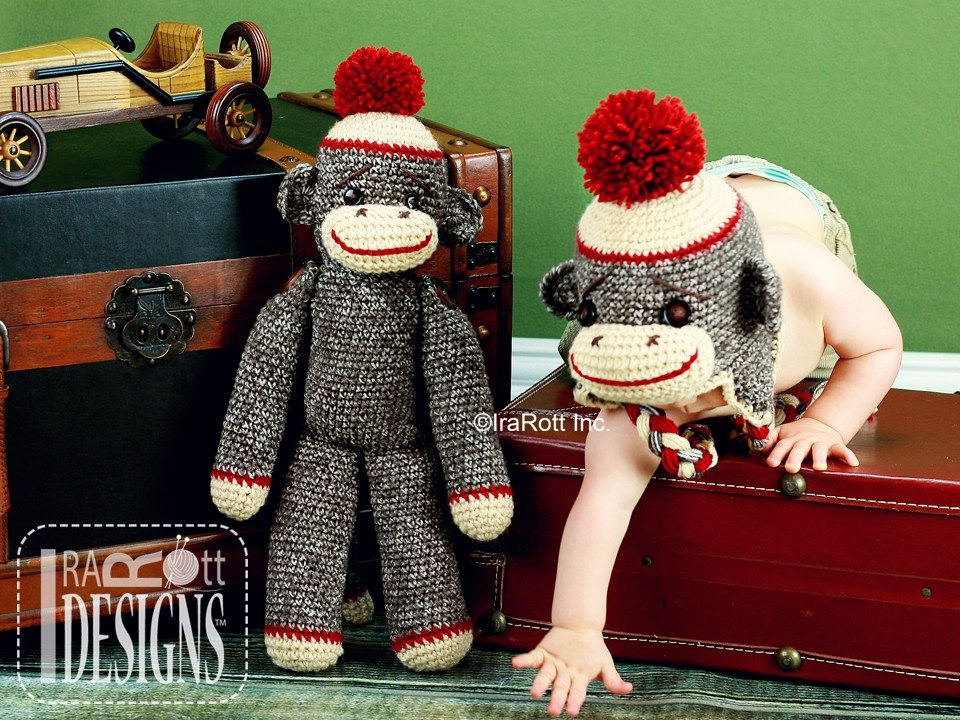 Classic sock monkey hat for all sizes and a matching toy crochet classic sock monkey hat for all sizes and a matching toy crochet pattern dt1010fo