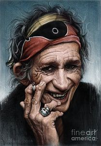 Rolling Stones Drawing - Keith Richards by Andre Koekemoer