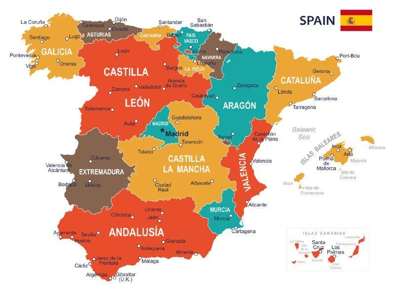 Cartina Spagna Geografica.Mappa Della Spagna Consulta La Cartina Della Spagna Interattiva Spagna Saragozza Isole Baleari