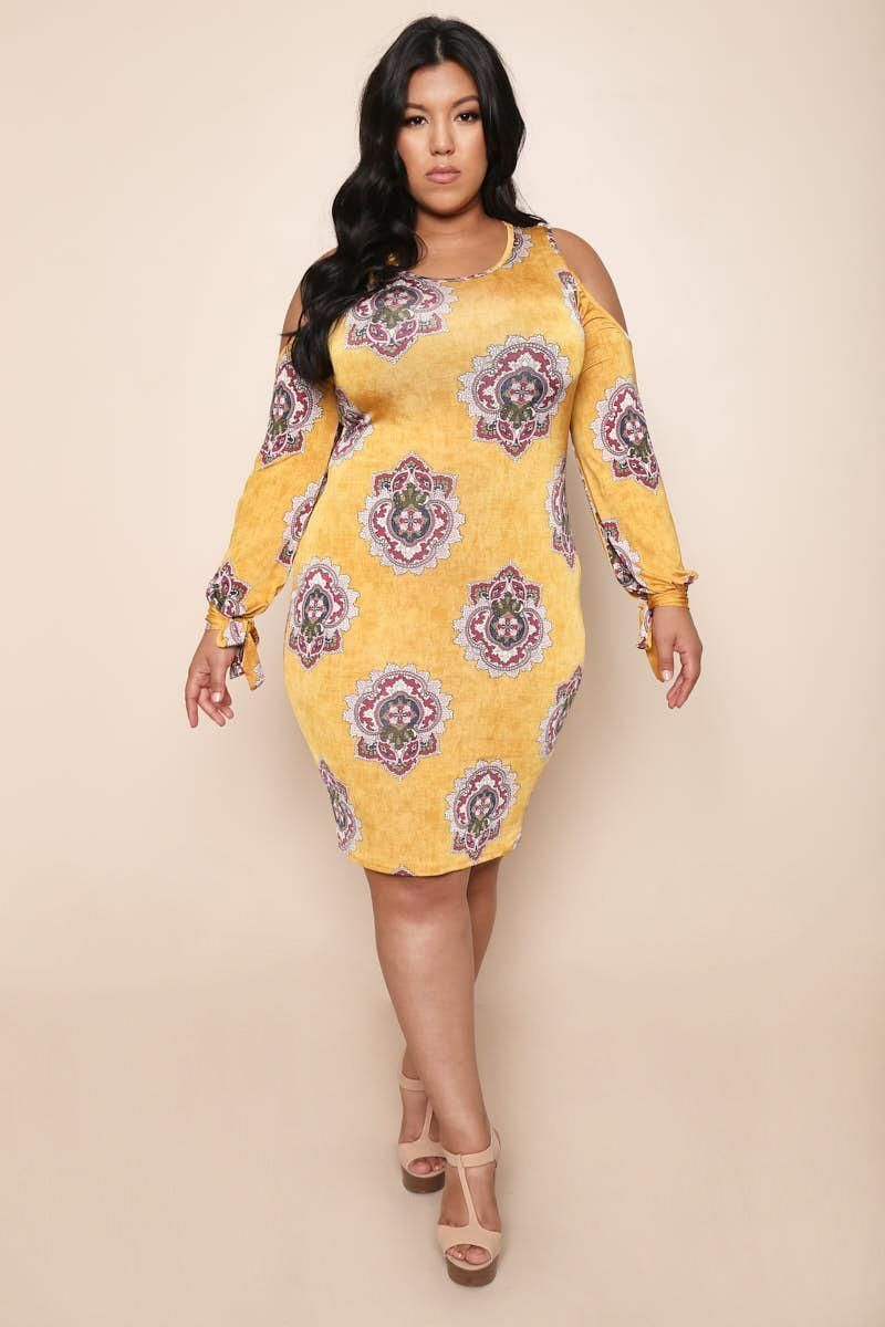 Abstract Print Cold Shoulder Plus Size Midi Dress