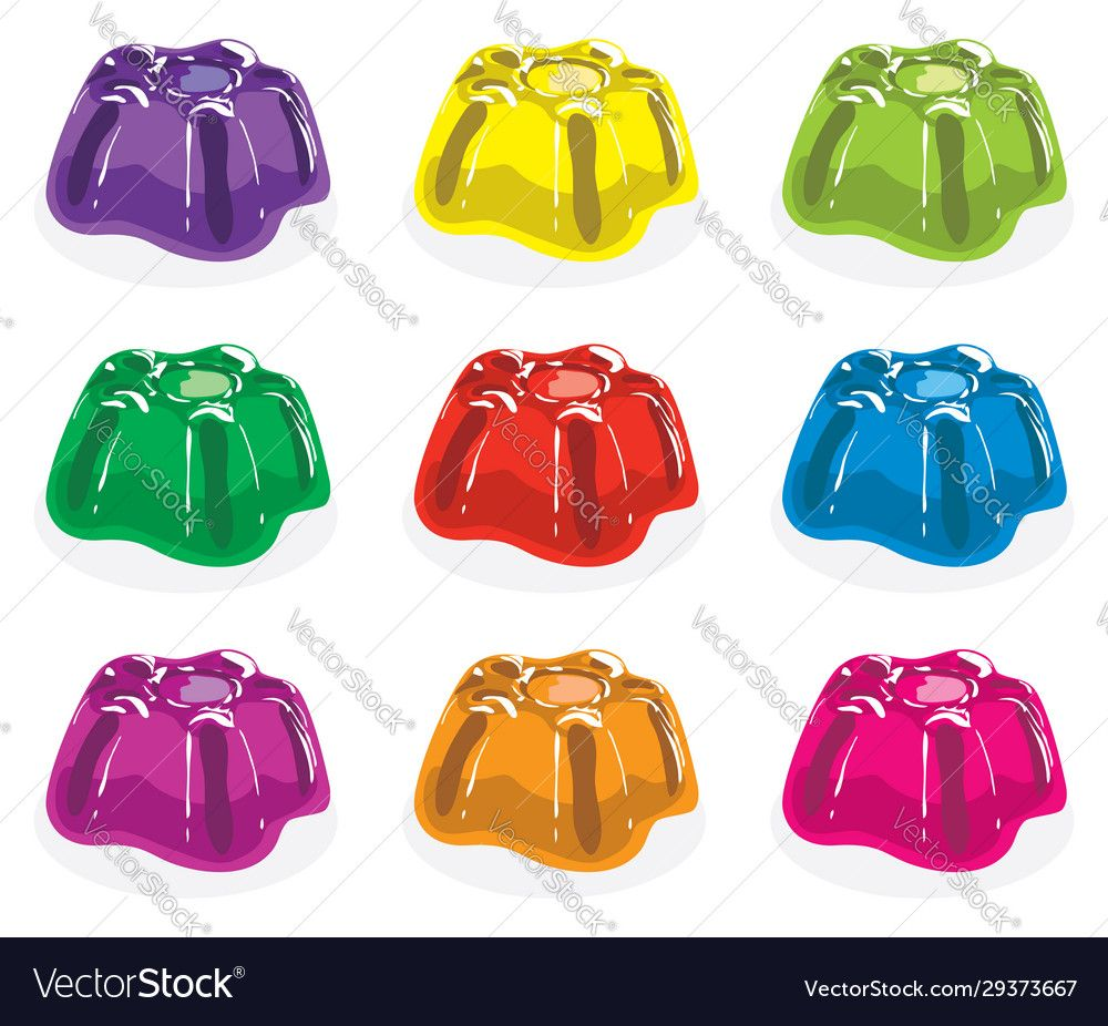 Colorful gelatin jelly assortment vector image on in 2020