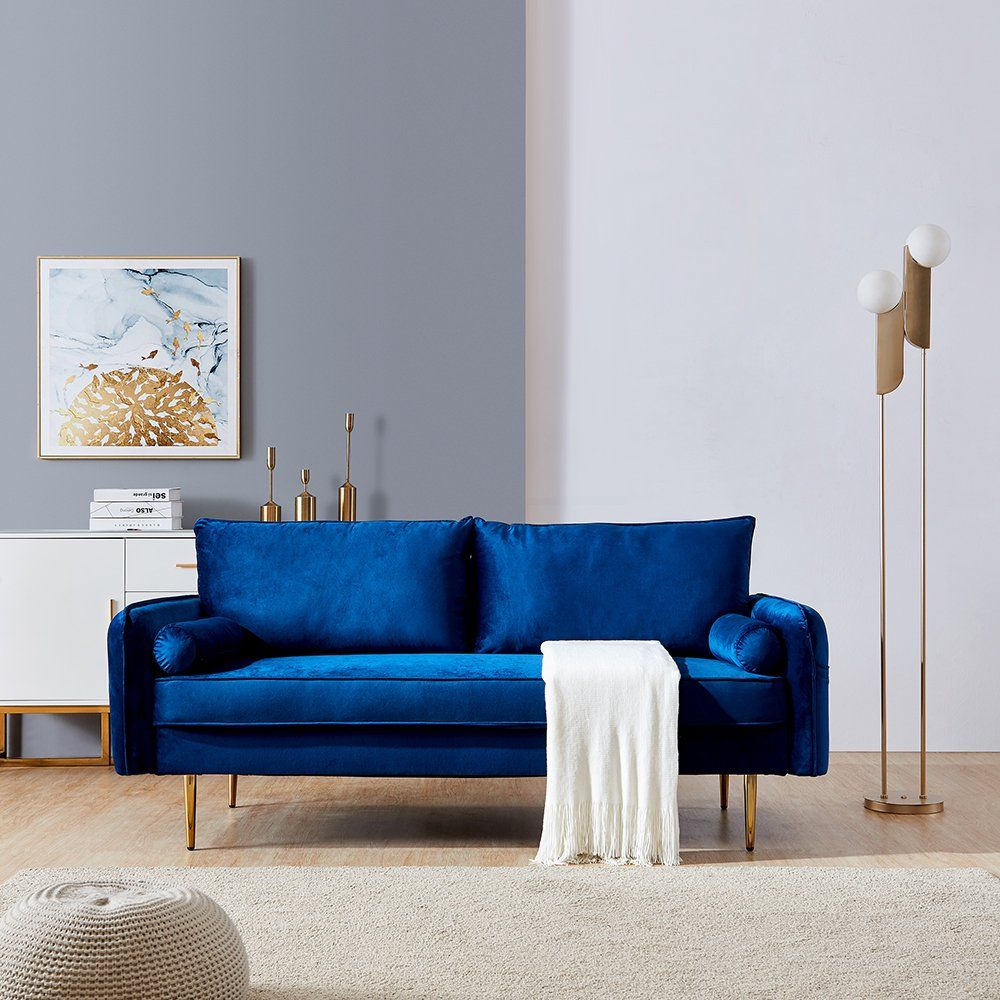 Hommoo 70 Mid Century Sofa Modern Couch For Living Room Bedroom Small Spaces Blue Walmart Com In 2021 Modern Furniture Living Room Elegant Sofa Blue Velvet Sofa