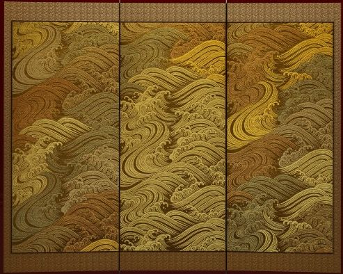 The Crest Of Wave Is Made From Approximately 1000 Sheets Of Golden Leaf And Is Considered One Of The Signature Pieces Of Japanese Art Silver Leaf Art Asian Art