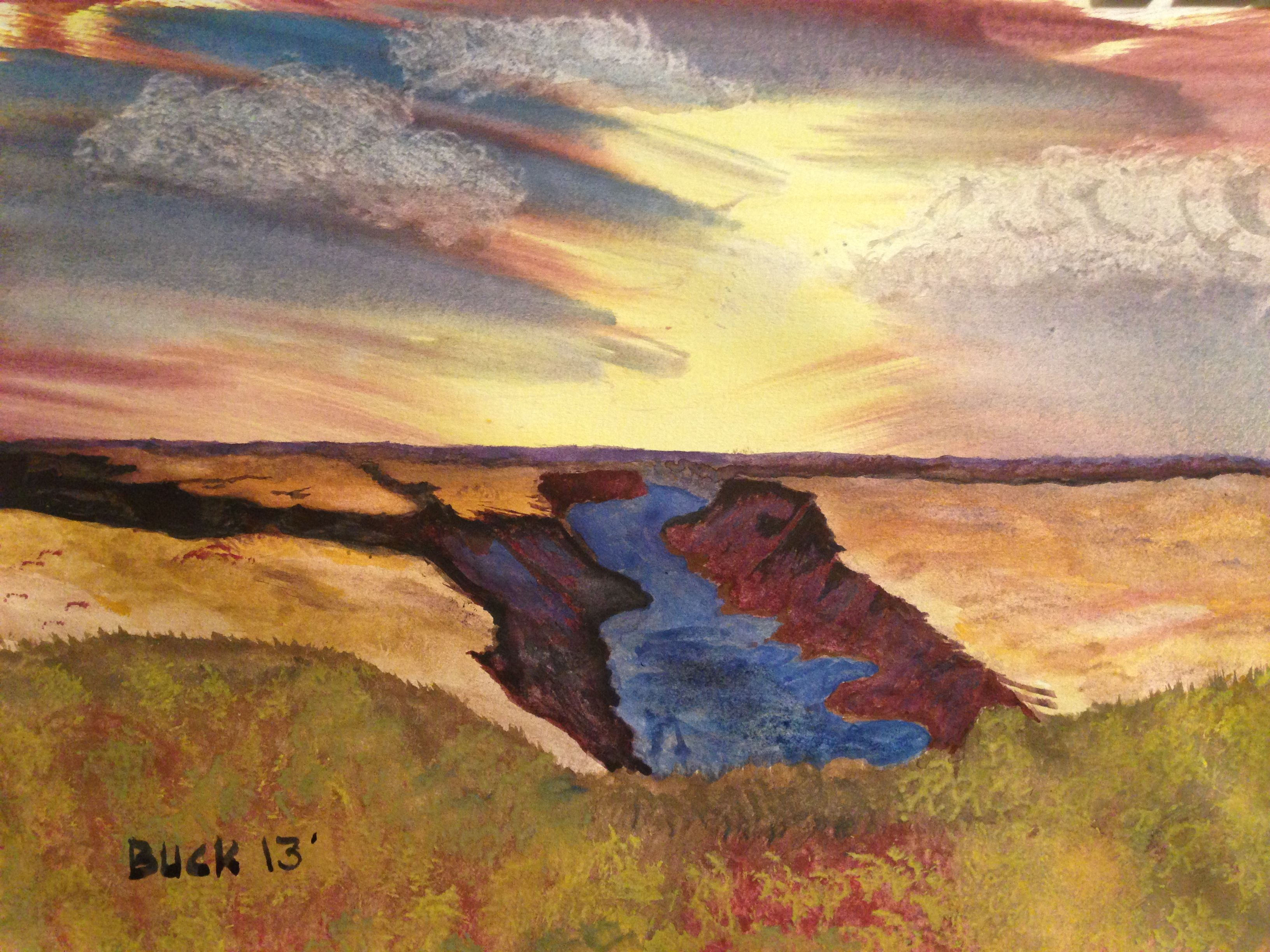 Canyon with river in watercolors.