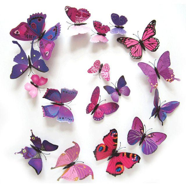 12Pcs//Lot 3D PVC Butterfly Wall Sticker Art Home Decor Room Magnetic Vinyl Remov