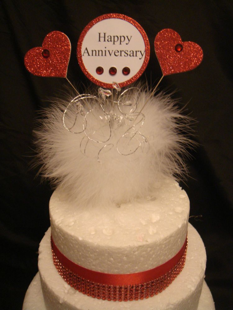 Glitter Heart Crystal Feather Trim Ruby Wedding Anniversary Cake - Ruby Wedding Cake Toppers