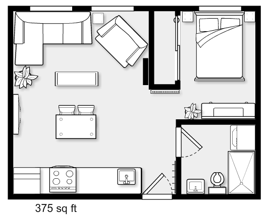 Small One Bedroom Apartment Small Apartment Plans Studio Apartment Floor Plans Tiny House Design