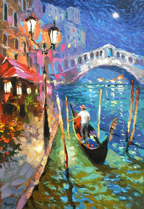 Photo of Mysterious moonlight. Venice italy, Oil Painting on canvas by Dmitry Spiros.  Size: 24″x36″ (60 x 90 cm)