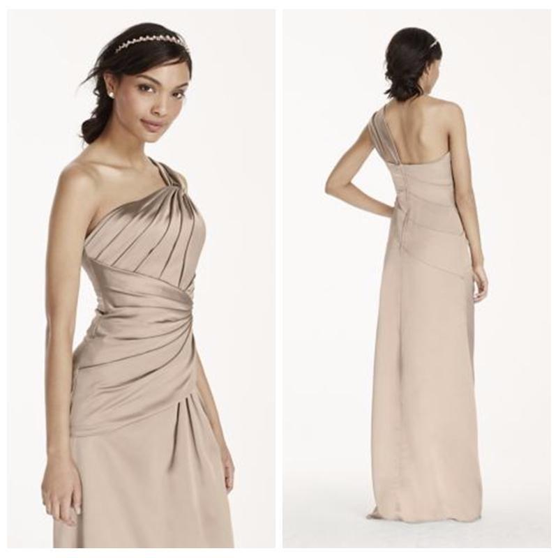 One Shoulder Satin Grey Sheath Bridesmaid Dress 2016 Custom Formal ...