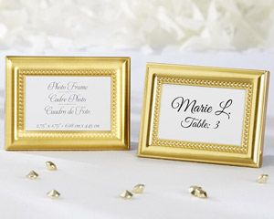 Gold Kissing Bells Place Card Photo Holder Set Of 24
