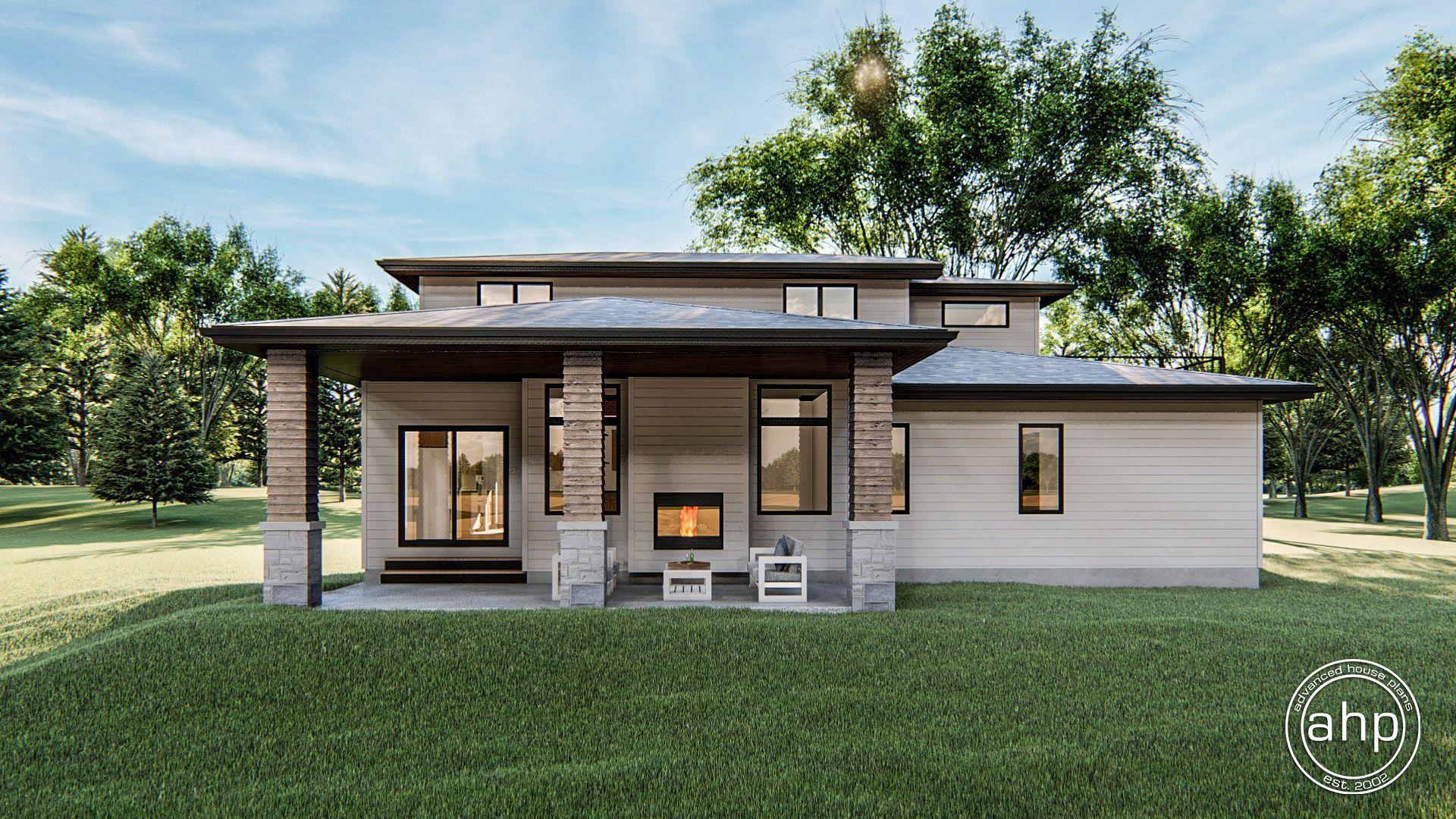 1.5 Story Modern Prairie House Plan | Summit | Prairie style ...