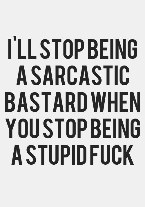 I'll stop being a sarcastic bastard when you stop being a stupid ...