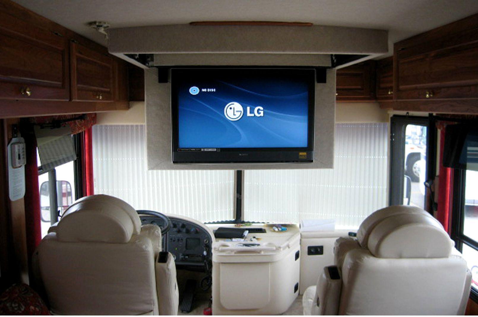 Motorhome Interior Remodel Google Search But I Would Flip So It Hangs Down In Back Of Camper If Possible But Dont Think There Is Enouph Room Rv Tv Mount