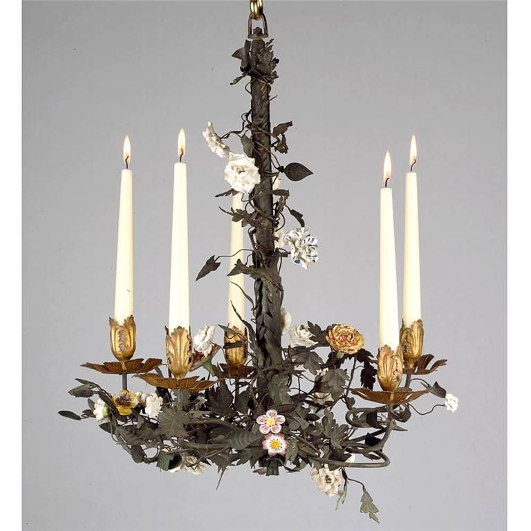 Porcelain and metal chandelier home pinterest chandeliers french tole chandelier with porcelain flowers mozeypictures Image collections