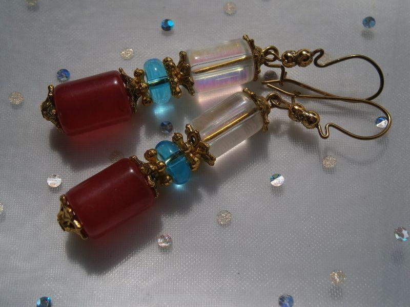 lange Ohrringe in pink und türkis von kunstpause auf DaWanda.com