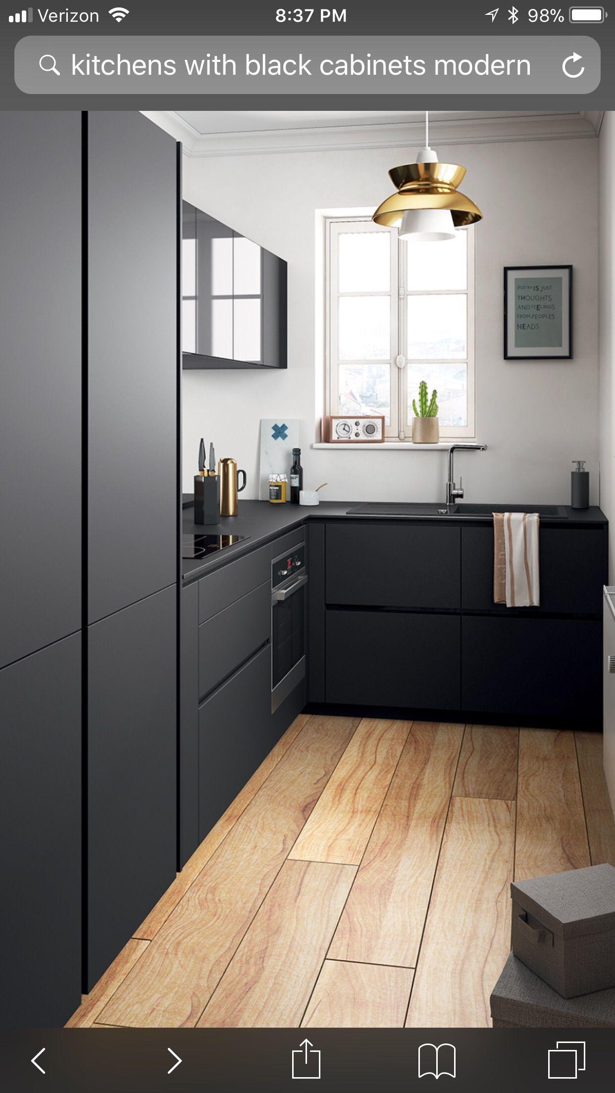 Pin By A Hfs On Kitchen Ideas Modern Black Kitchen Small Modern Kitchens Kitchen Remodel Small