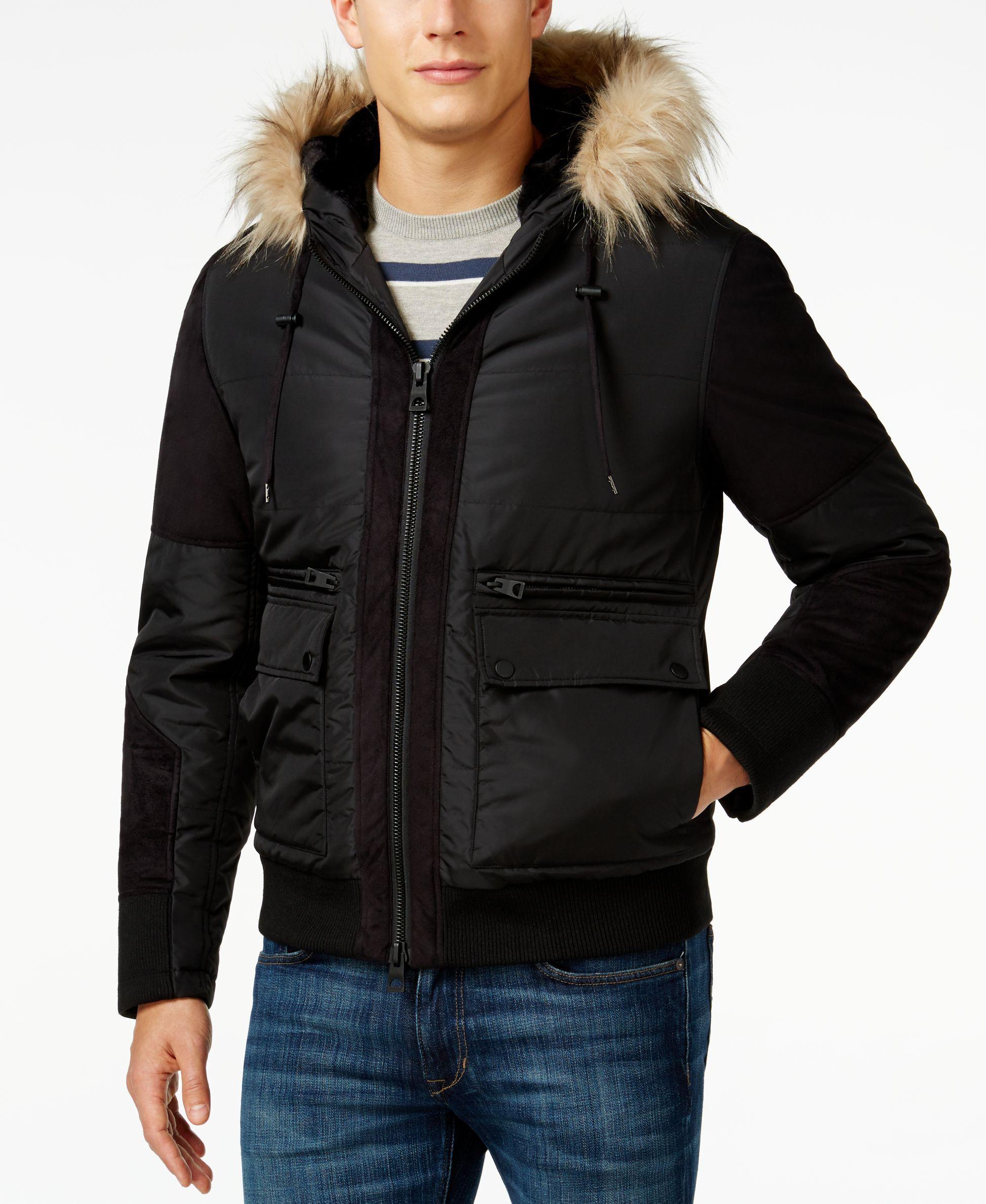 Guess Filmore FauxFur Hood Puffer Jacket Faux fur hood