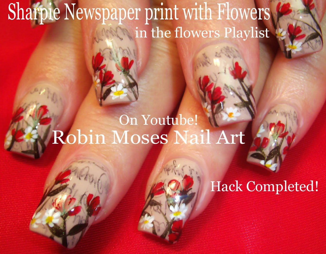 Easy Newspaper Nail Hack with flowers! #sharpie #nails #nail #art #trends #spring #easy #diy #howto #hack #nailhack #sharpienails #design #tutorial #flowers #spring #daisy