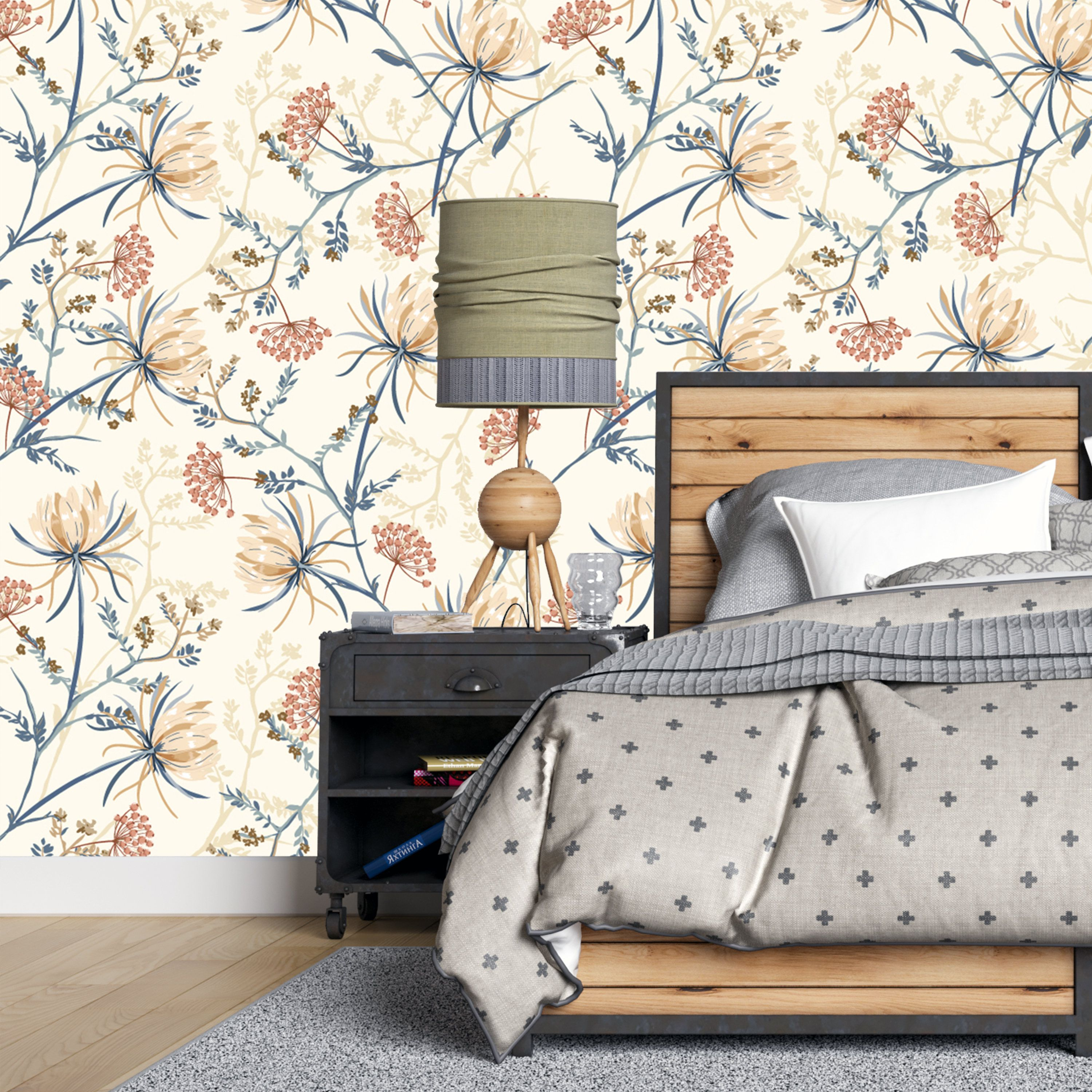 Peel And Stick Blooming Oriental Flowers Removable Wallpaper Etsy Home Decor Home Wallpaper Contemporary Home Decor