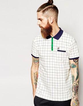 fila vintage polo. fila vintage polo shirt with check