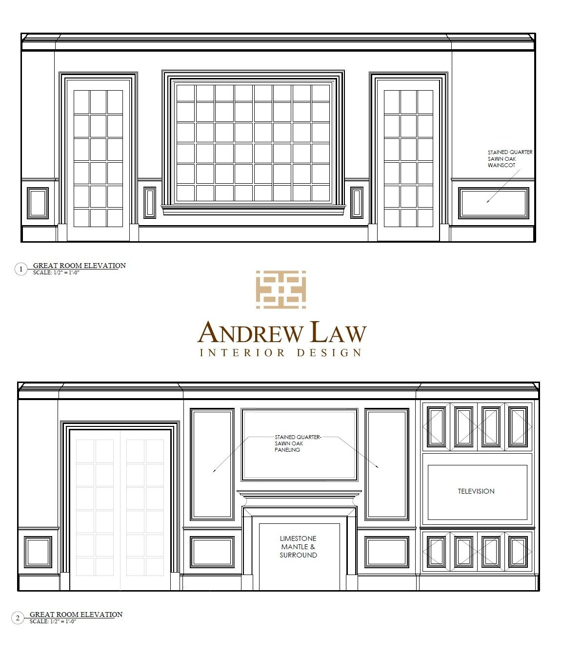 #BethesdaStyle ~ Great Room Elevations from Andrew Law Interior Design!  www.andrewlaw.