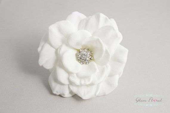 Real Touch Gardenia Hair Clip With Rhinestone By Glamfloral Brooch Corsage Floral Comb