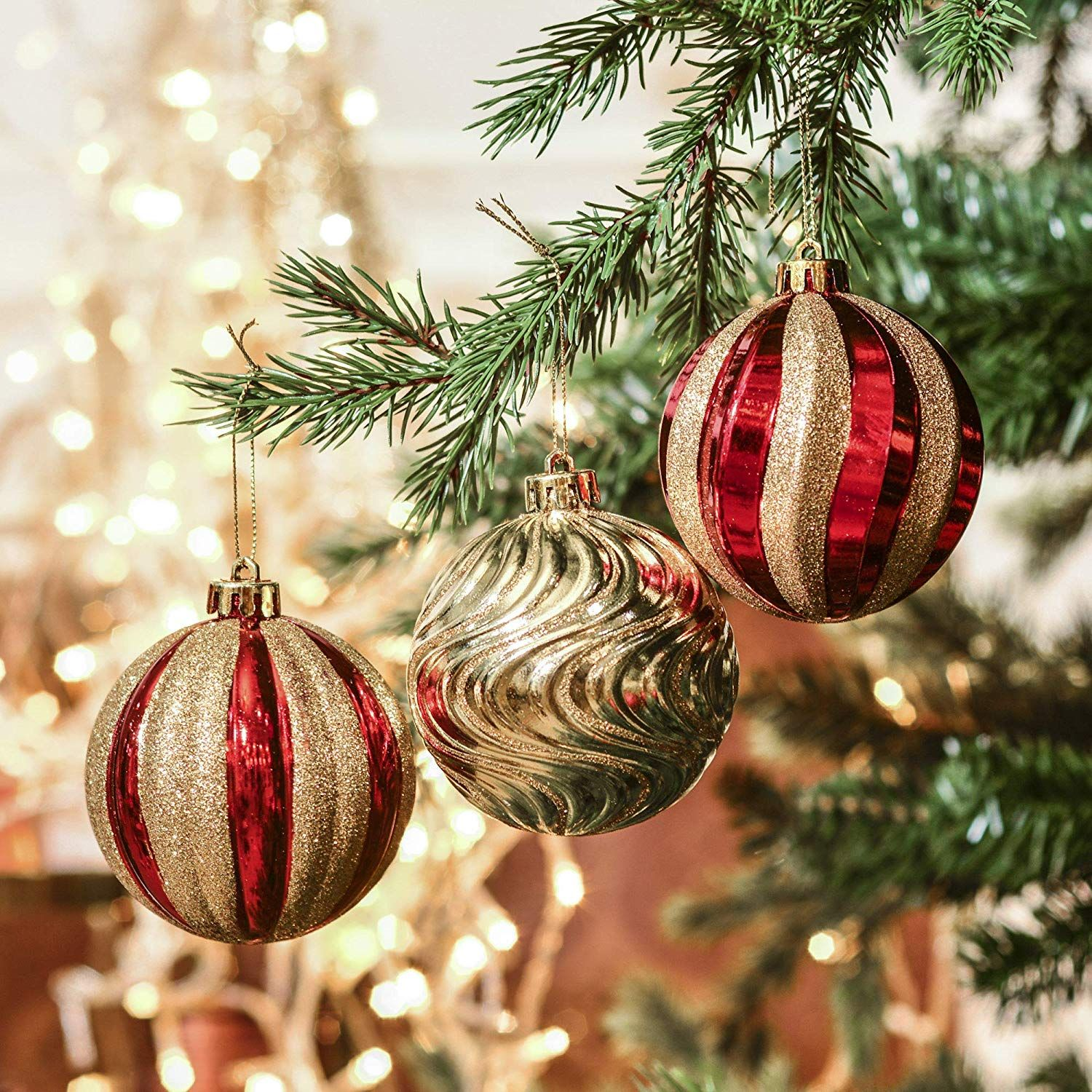 Valery Madelyn 40ct Luxury Shatterproof Christmas Ball Ornaments Decoration Red Ornament Decor Classic Christmas Decorations Christmas Decorations For The Home