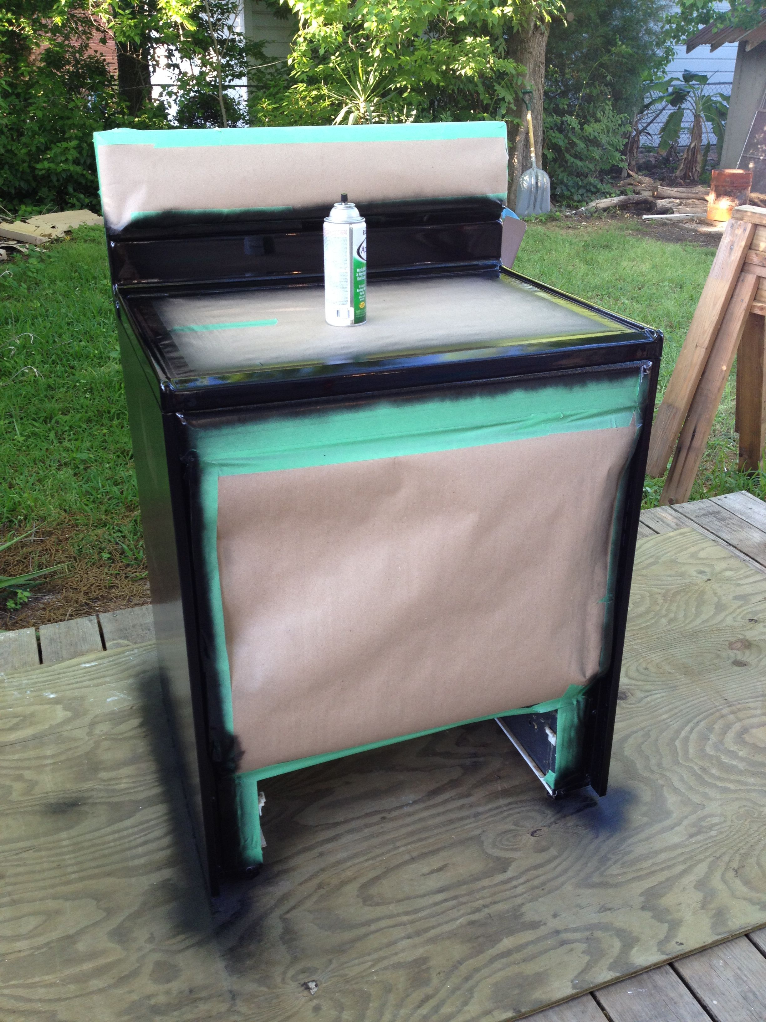 Painting The Zebra Stove  Paint Is Metallic Appliance Spray