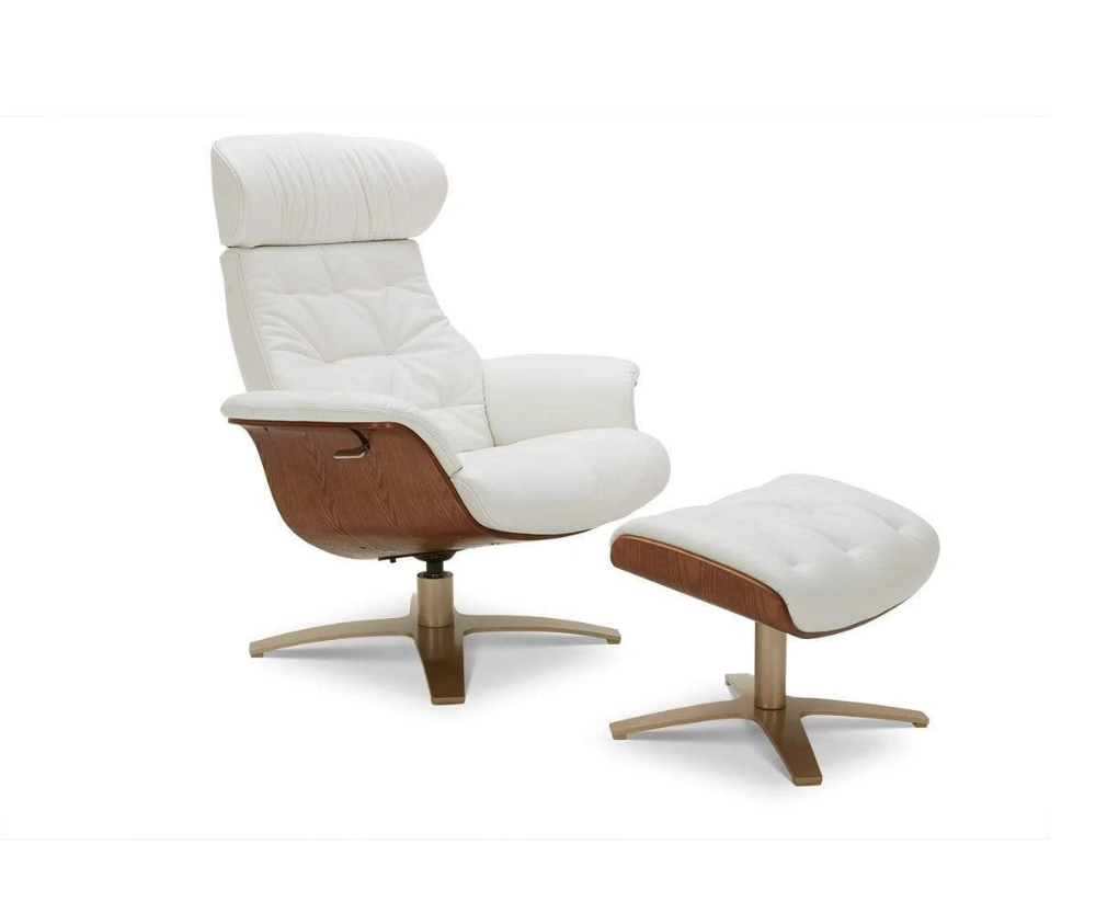 Anselmo Leather Recliner Ottoman In 2020 Leather Recliner Modern Recliner Chairs Modern Recliner