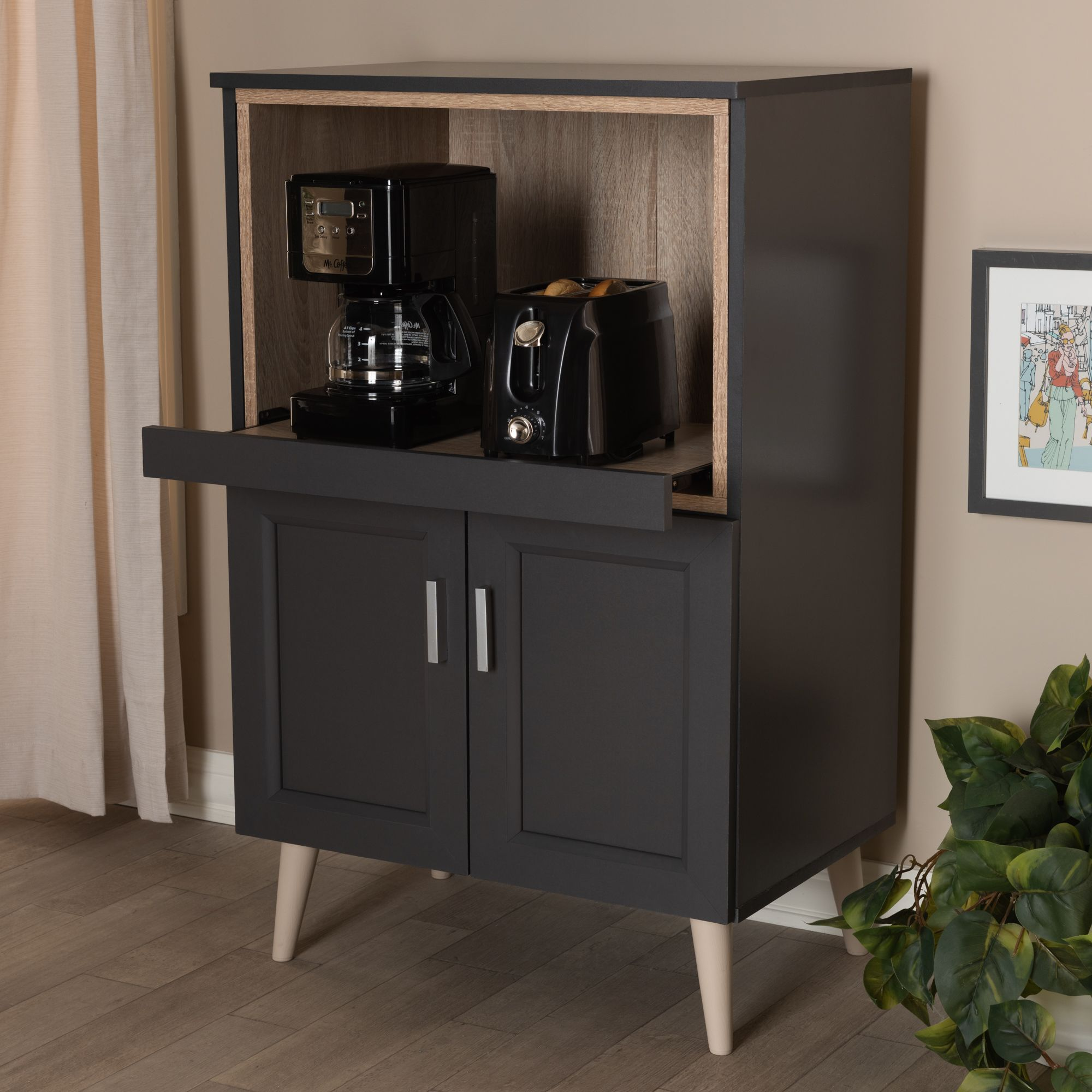 Baxton Studio Tobias Modern And Contemporary Dark Grey And Oak Brown Finished Kitchen Cabinet Walmart Com In 2020 Finish Kitchen Cabinets Brown Kitchen Cabinets Kitchen Cabinet Storage