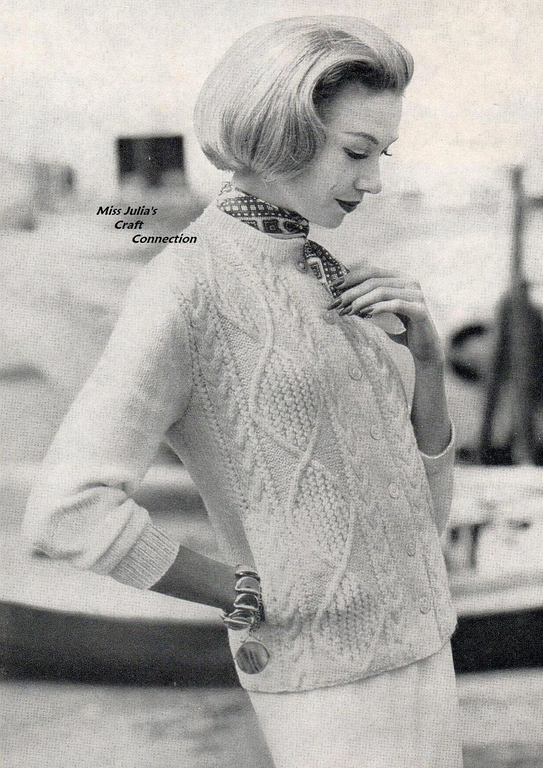 Vintage 1950s Vogue Aran Cable Cardigan Sweater 338 PDF Digital Knit ...