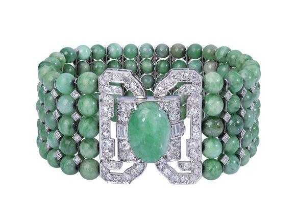 Sehr seltenes Jade-Brillant-Armband,  Art Déco um 1925, Platin