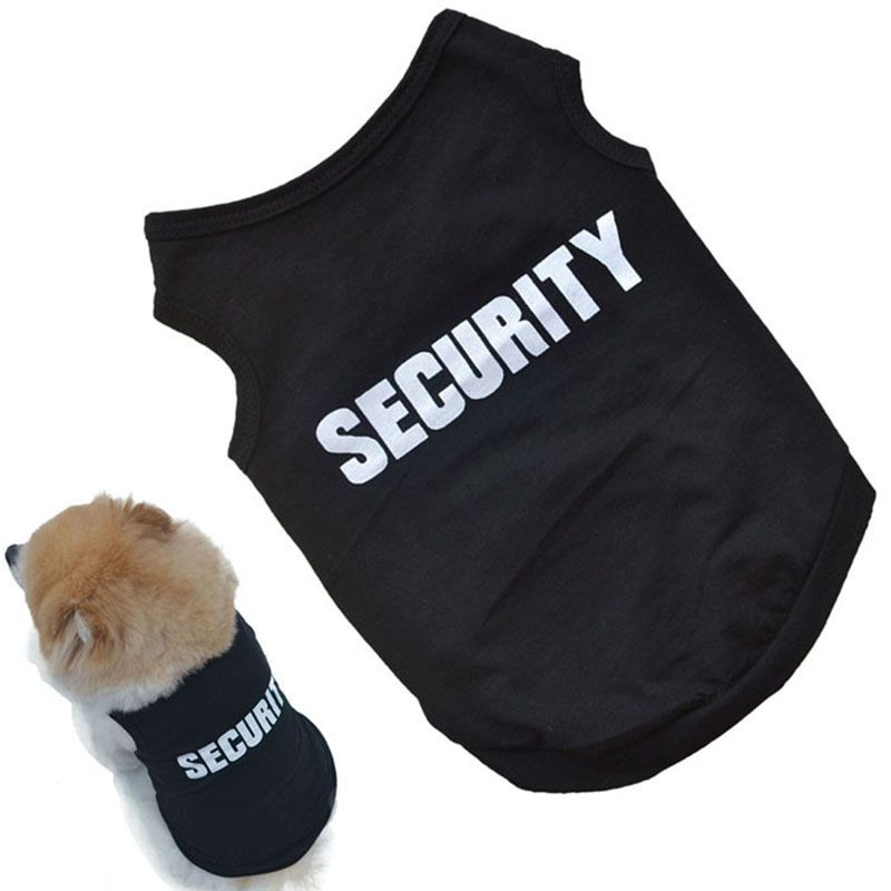 814c4feed Unisex Pet Summer Clothes Puppy Dog Cat Vest T Shirt SECURITY Boss print  Coat Sweater Apparel Tops XS-L  clothing