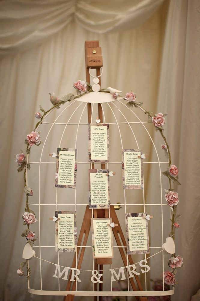 wedding table plan birdcage shabby chic vintage with