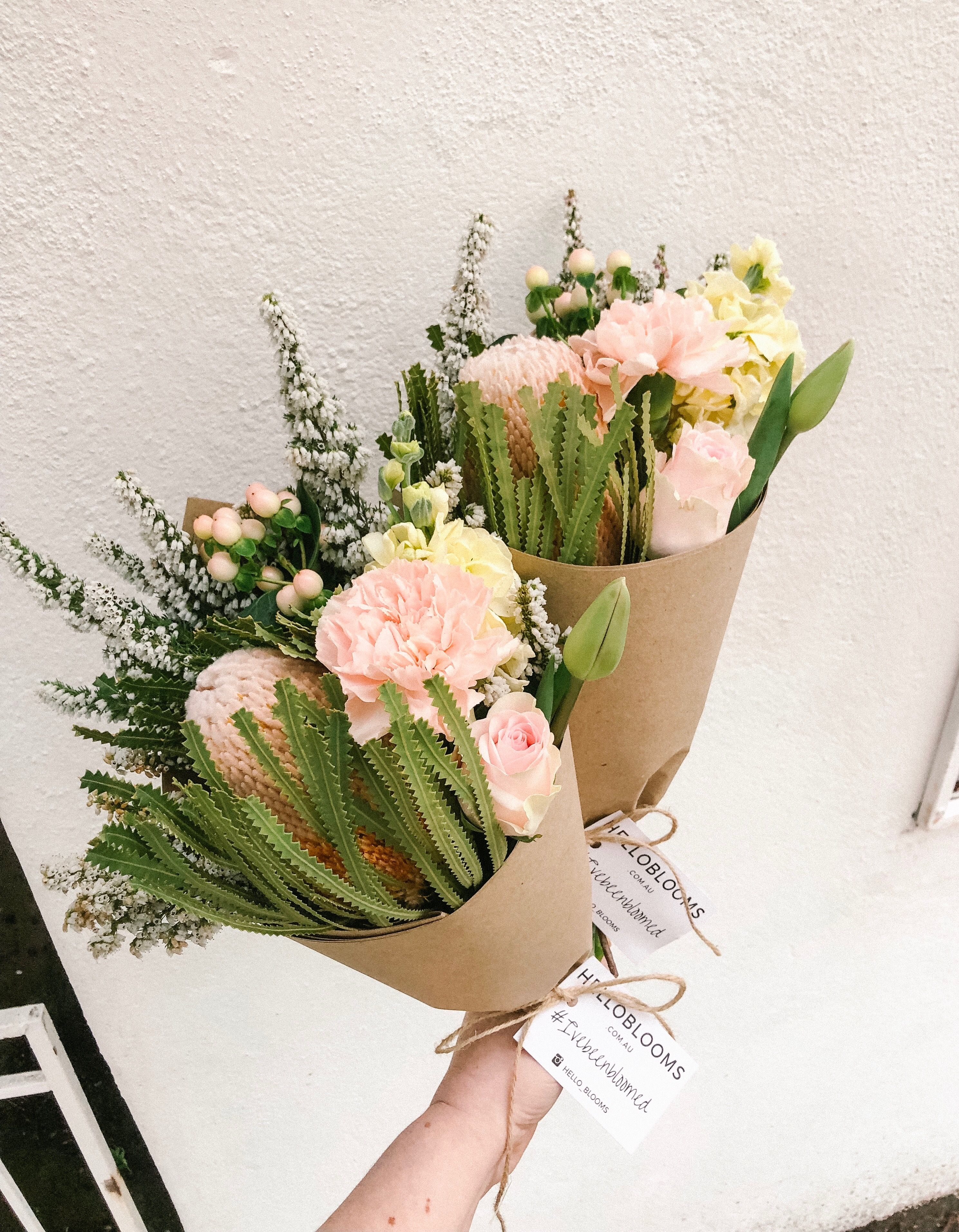 Flower Delivery Melbourne. Banksia, peach carnations
