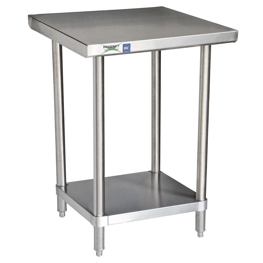 Regency 24 X 30 16 Gauge 304 Stainless Steel Commercial Work Table With Undershelf With Images Stainless Steel Work Table Work Table Table