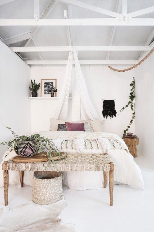 Schlafzimmer Weiss Boho Stil Romantisch Himmelbett Massivholz