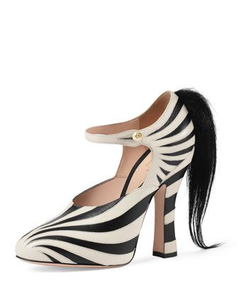2ce4509d63b9 Lesley Zebra-Print Mary Jane Pump, Black/White by Gucci at Bergdorf Goodman.