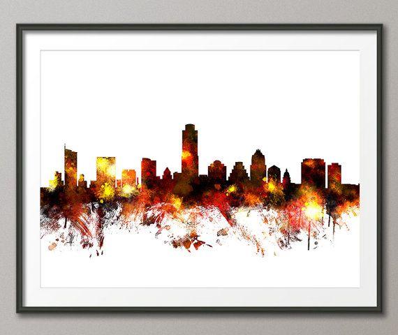Austin Skyline, Austin Texas Cityscape Art Print (1100)   Skyline ...