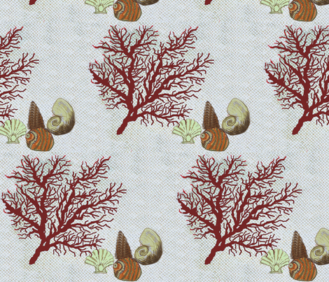 Red Coral and sea shells / Dk. fabric by paragonstudios on Spoonflower - custom fabric